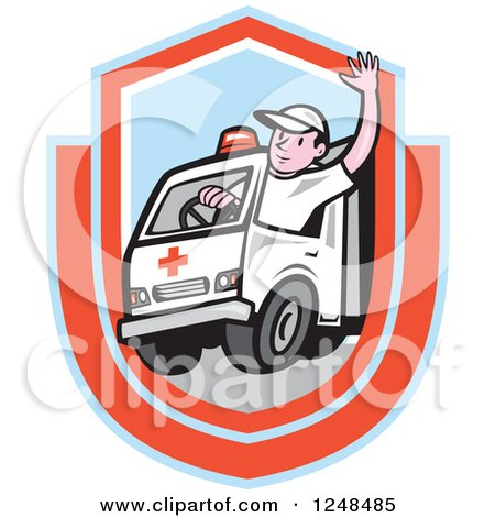 Clipart of a Cartoon Ambulance Driver Waving in a Shield - Royalty Free Vector Illustration by patrimonio