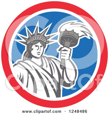 Clipart of a Retro Statue of Liberty with a Torch in a Red White and Blue Circle - Royalty Free Vector Illustration by patrimonio