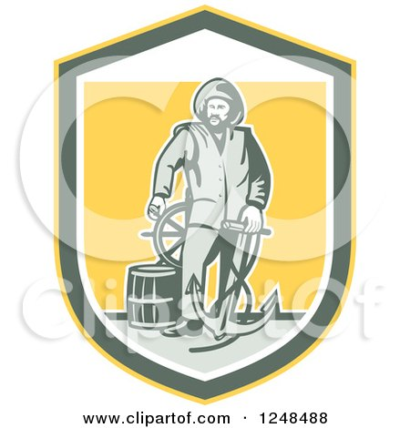 Clipart of a Retro Fisherman with an Anchor Drum and Helm in a Shield - Royalty Free Vector Illustration by patrimonio