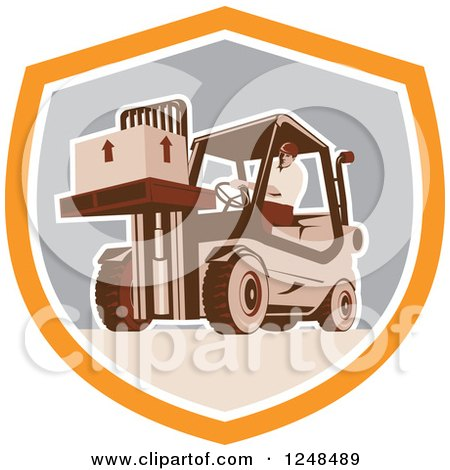 Clipart of a Retro Warehouse Worker Moving a Crate on a Forklift in a Shield - Royalty Free Vector Illustration by patrimonio