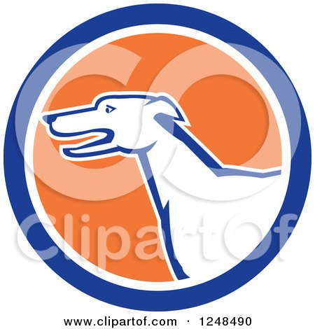 Clipart of a Cartoon Greyhound Dog in Profile in a Circle - Royalty Free Vector Illustration by patrimonio