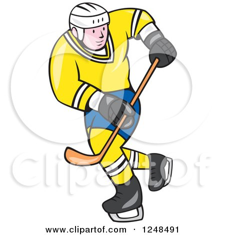 Clipart of a Cartoon Male Hockey Player in Blue and Yellow - Royalty Free Vector Illustration by patrimonio