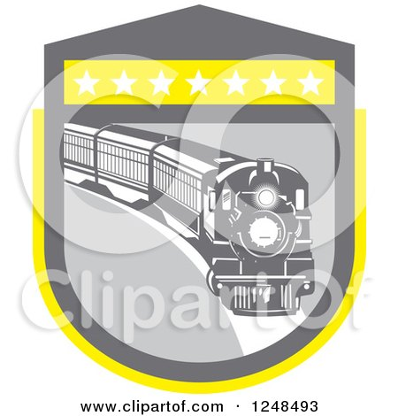 Clipart of a Retro Steam Train in a Gray and Yellow Shield - Royalty Free Vector Illustration by patrimonio