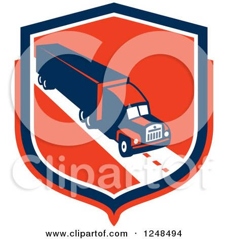 Clipart of a Retro Big Rig Truck Trailer in a Red Shield - Royalty Free Vector Illustration by patrimonio