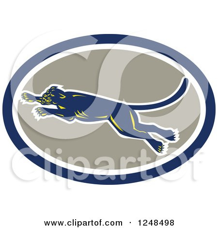 Clipart of a Retro Leaping Panther in an Oval - Royalty Free Vector Illustration by patrimonio