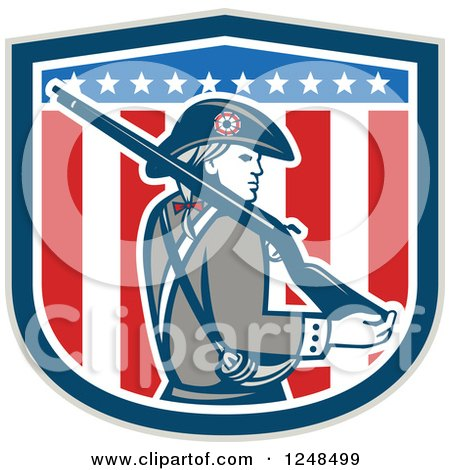 Clipart of an American Patriot Minuteman with a Rifle over a Shield - Royalty Free Vector Illustration by patrimonio