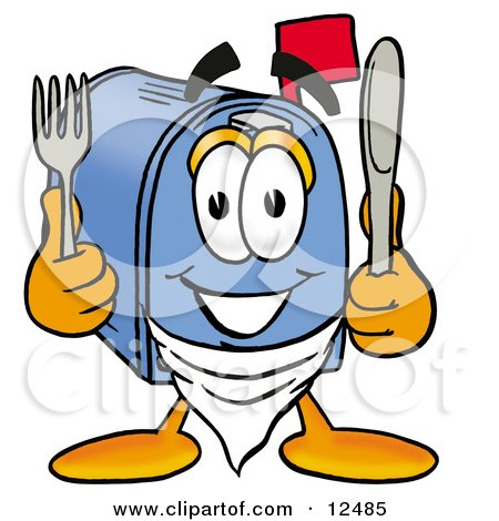 Clipart Picture of a Blue Postal Mailbox Cartoon Character Holding a Knife and Fork by Toons4Biz