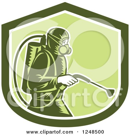 Retro Woodcut Pest Control Exterminator Spraying in a Green Shield Posters, Art Prints