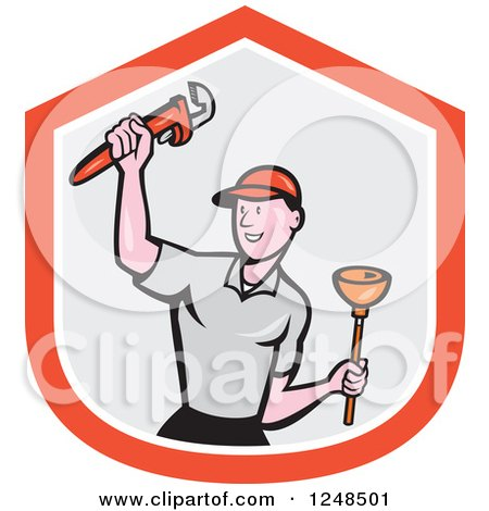 Clipart of a Cartoon Male Plumber with a Plunger and Monkey Wrench over a Shield - Royalty Free Vector Illustration by patrimonio