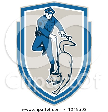 Clipart of a Police Officer and K9 Unit Dog in a Shield - Royalty Free Vector Illustration by patrimonio