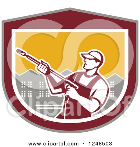 Clipart of a Retro Male Pressure Washer over Houses in a Shield - Royalty Free Vector Illustration by patrimonio