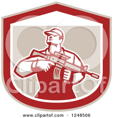 Clipart of a Retro Male Soldier Holding a Rifle in a Shield - Royalty Free Vector Illustration by patrimonio