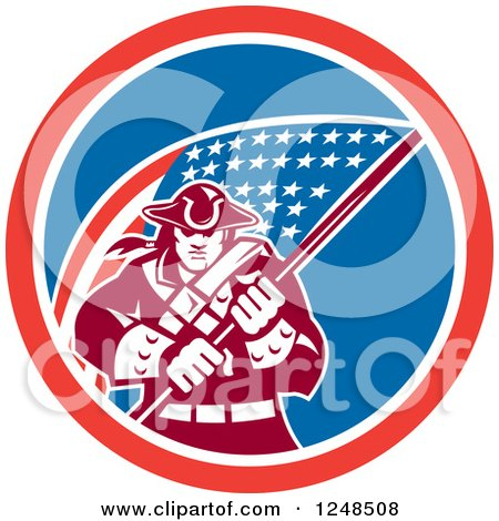 Clipart of a Retro American Patriot Soldier and Flag in a Circle - Royalty Free Vector Illustration by patrimonio