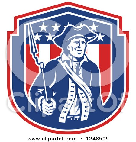Clipart of a Retro American Patriot Soldier with a Bayonet in a Shield - Royalty Free Vector Illustration by patrimonio