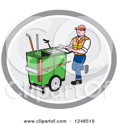 Clipart of a Cartoon Male Street Cleaner Worker Pushing a Cleaning Trolley Cart in an Oval - Royalty Free Vector Illustration by patrimonio