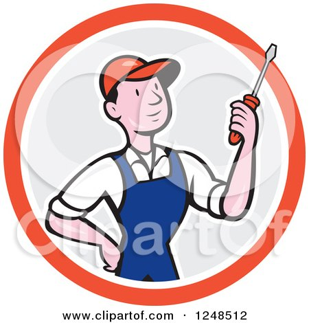 Clipart of a Cartoon Male Handyman Mechanic or Electrician Holding a Screwdriver in a Circle - Royalty Free Vector Illustration by patrimonio