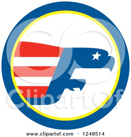 Clipart of a Bald Eagle Abstract and Flag in a Circle - Royalty Free Vector Illustration by patrimonio