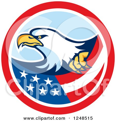 Clipart of a Bald Eagle and Flag in a Circle - Royalty Free Vector Illustration by patrimonio