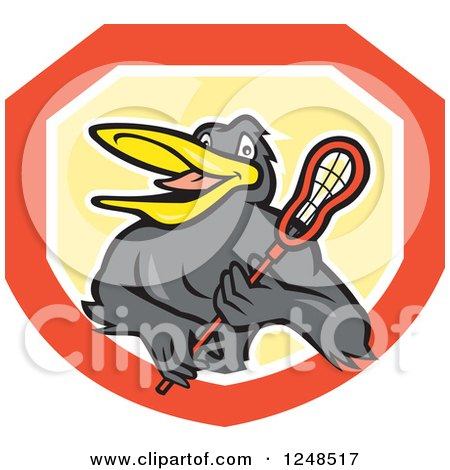 Clipart of a Black Bird with a Lacrosse Stick in a Shield - Royalty Free Vector Illustration by patrimonio