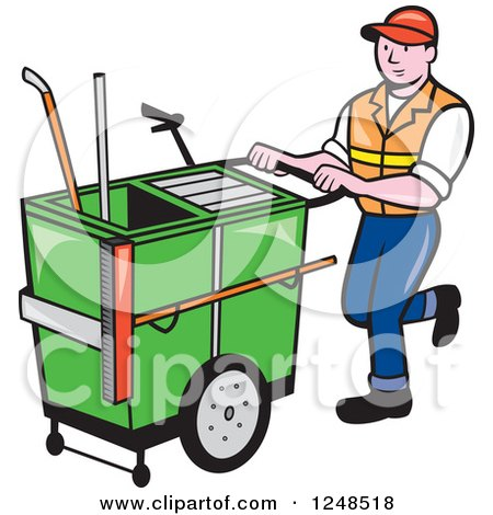 Clipart of a Cartoon Male Street Cleaner Worker Pushing a Cleaning Trolley Cart - Royalty Free Vector Illustration by patrimonio