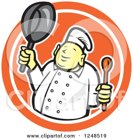 Buddha Chef Holding a Spoon and Pan in a Circle Posters, Art Prints