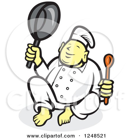 Clipart of a Buddha Chef Holding a Spoon and Pan - Royalty Free Vector Illustration by patrimonio