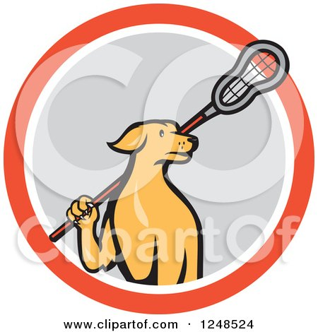 Clipart of a Cartoon Golden Retriever Lacrosse Player Dog in a Circle - Royalty Free Vector Illustration by patrimonio