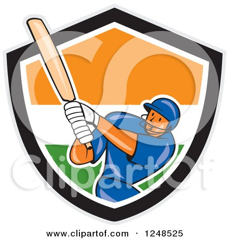 Clipart of a Cartoon Cricket Player Man Batting in an Indian Shield - Royalty Free Vector Illustration by patrimonio