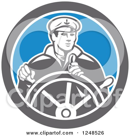 Clipart of a Retro Fisherman Ship Captain Steering a Helm - Royalty Free Vector Illustration by patrimonio