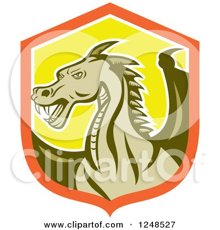 Clipart of a Green Dragon in a Shield - Royalty Free Vector Illustration by patrimonio