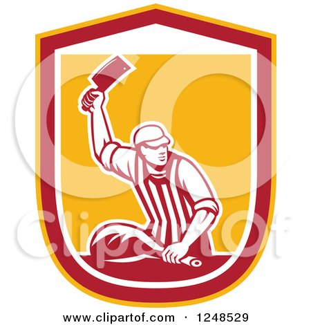 Clipart of a Retro Male Butcher Chopping Leg Meat in a Shield - Royalty Free Vector Illustration by patrimonio