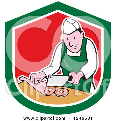 Clipart of a Cartoon Butcher Chopping up Leg Meat in a Shield - Royalty Free Vector Illustration by patrimonio
