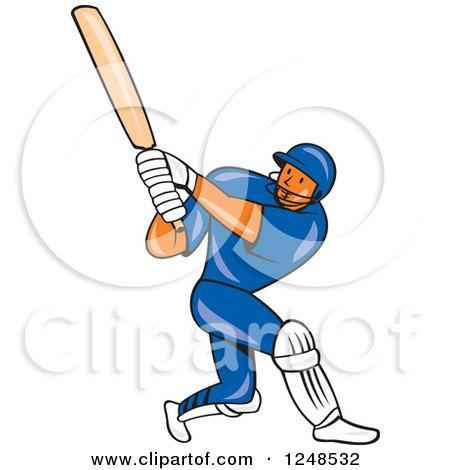 Clipart of a Cartoon Cricket Player Man Batting - Royalty Free Vector Illustration by patrimonio