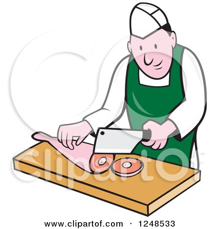 Clipart of a Cartoon Butcher Chopping up Leg Meat - Royalty Free Vector Illustration by patrimonio