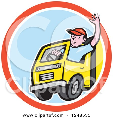 Clipart of a Friendly Cartoon Delivery Truck Driver Waving in a Circle - Royalty Free Vector Illustration by patrimonio