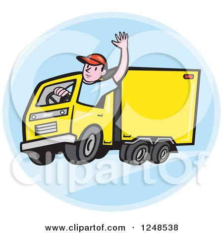 Clipart of a Friendly Cartoon Delivery Truck Driver Waving in a Blue Circle - Royalty Free Vector Illustration by patrimonio