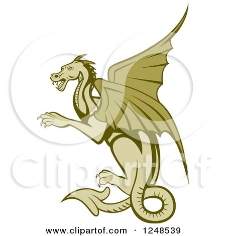 Clipart of a Green Dragon Flying - Royalty Free Vector Illustration by patrimonio