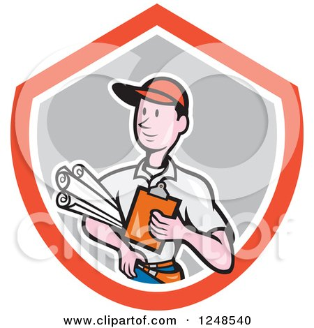 Clipart of a Cartoon Builder with Plans in a Shield - Royalty Free Vector Illustration by patrimonio