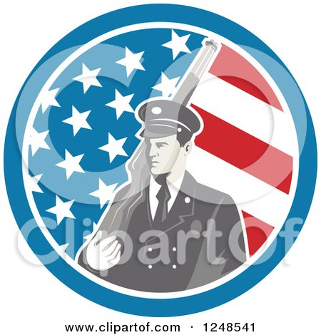 Clipart of a Soldier with a Rifle over His Shoulder in an American Flag Circle - Royalty Free Vector Illustration by patrimonio