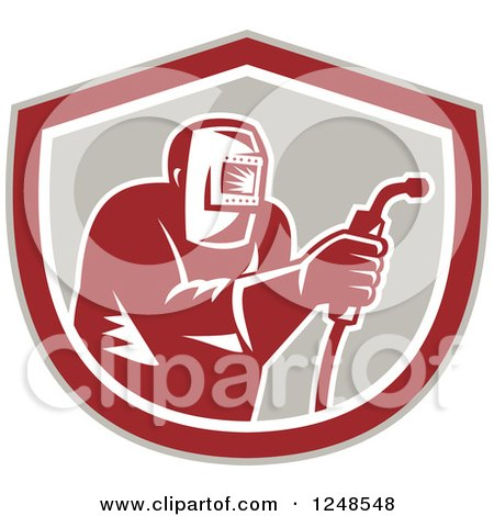 Clipart of a Retro Woodcut Welder in a Shield - Royalty Free Vector Illustration by patrimonio