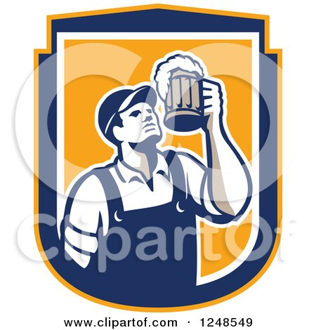 Clipart of a Retro Male Bartender Cheering with Beer in a Shield - Royalty Free Vector Illustration by patrimonio