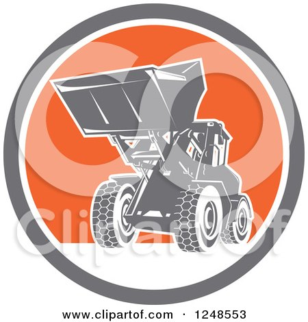 Retro Front End Loader Digger Machine in a Circle Posters, Art Prints