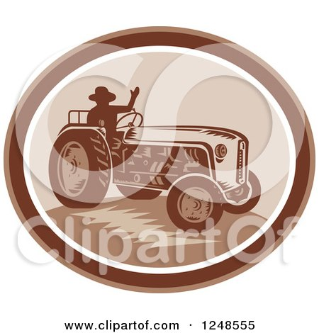 Clipart Of A Retro Silhouetted Farmer Waving And Operating A