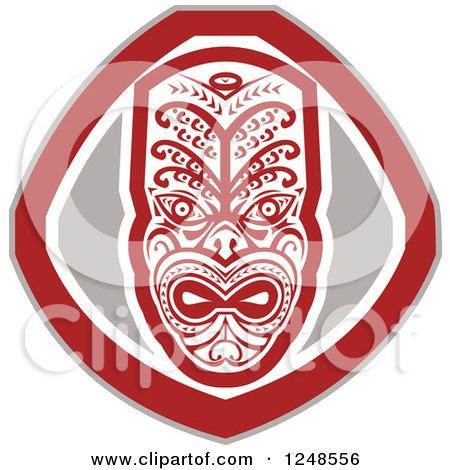 Clipart of a Retro Maori Mask Shield - Royalty Free Vector Illustration by patrimonio