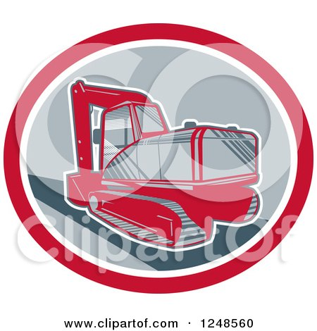 Retro Mechanical Digger in an Oval Posters, Art Prints