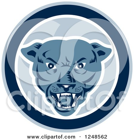 Clipart of a Retro Woodcut Panther Face in a Circle - Royalty Free Vector Illustration by patrimonio