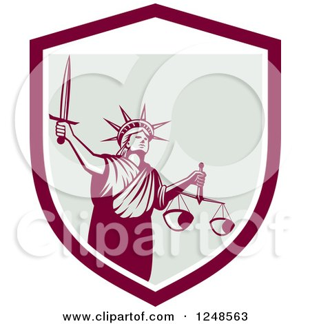 Clipart of a Retro Statue of Liberty with a Sword and Scales in a Shield - Royalty Free Vector Illustration by patrimonio