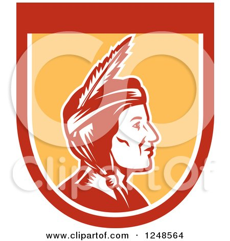 Clipart of a Retro Native American Indian Woman in Profile in a Shield - Royalty Free Vector Illustration by patrimonio