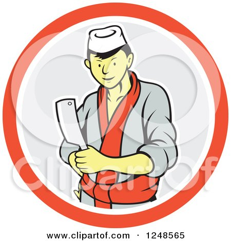 Clipart of a Cartoon Male Japanese Chef with a Knife in a Circle - Royalty Free Vector Illustration by patrimonio