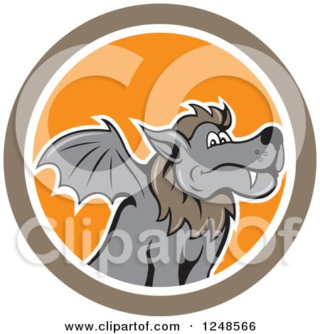 Clipart of a Cartoon Kludde Winged Wolf in a Circle - Royalty Free Vector Illustration by patrimonio
